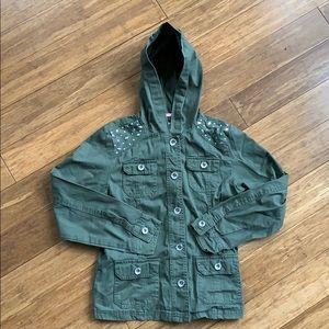 JUSTICE Girls Army Green Utility Jacket sz 12